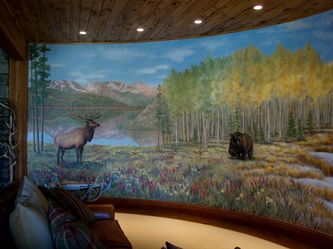 Painted wall murals sculpted relief art on walls for Commercial mural painting